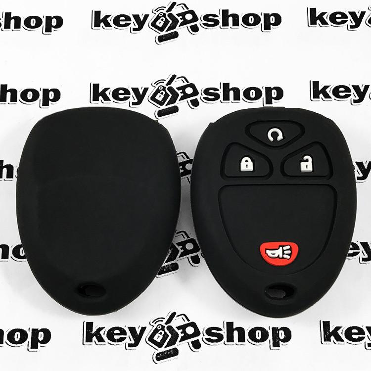 Чехол (черный, силиконовый) для пульта Cadillac (Кадиллак) 3 кнопки +1