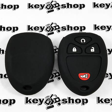 Чехол (черный, силиконовый) для пульта Cadillac (Кадиллак) 3 кнопки +1, фото 2