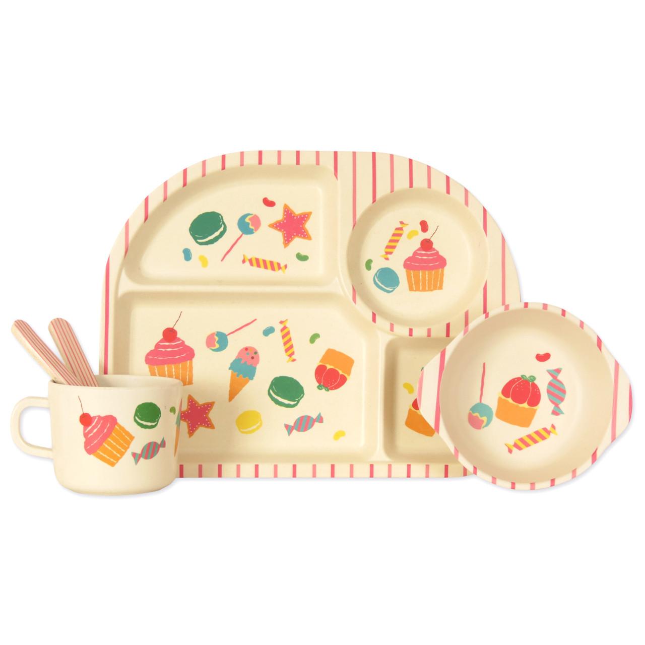 """Детский набор эко-посуды из бамбукового волокна """"Сладости"""""""