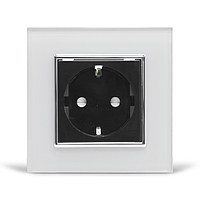 Розетка с заземлением Livolo белый черный хром стекло (VL-C7C1EU-11/12C), фото 1