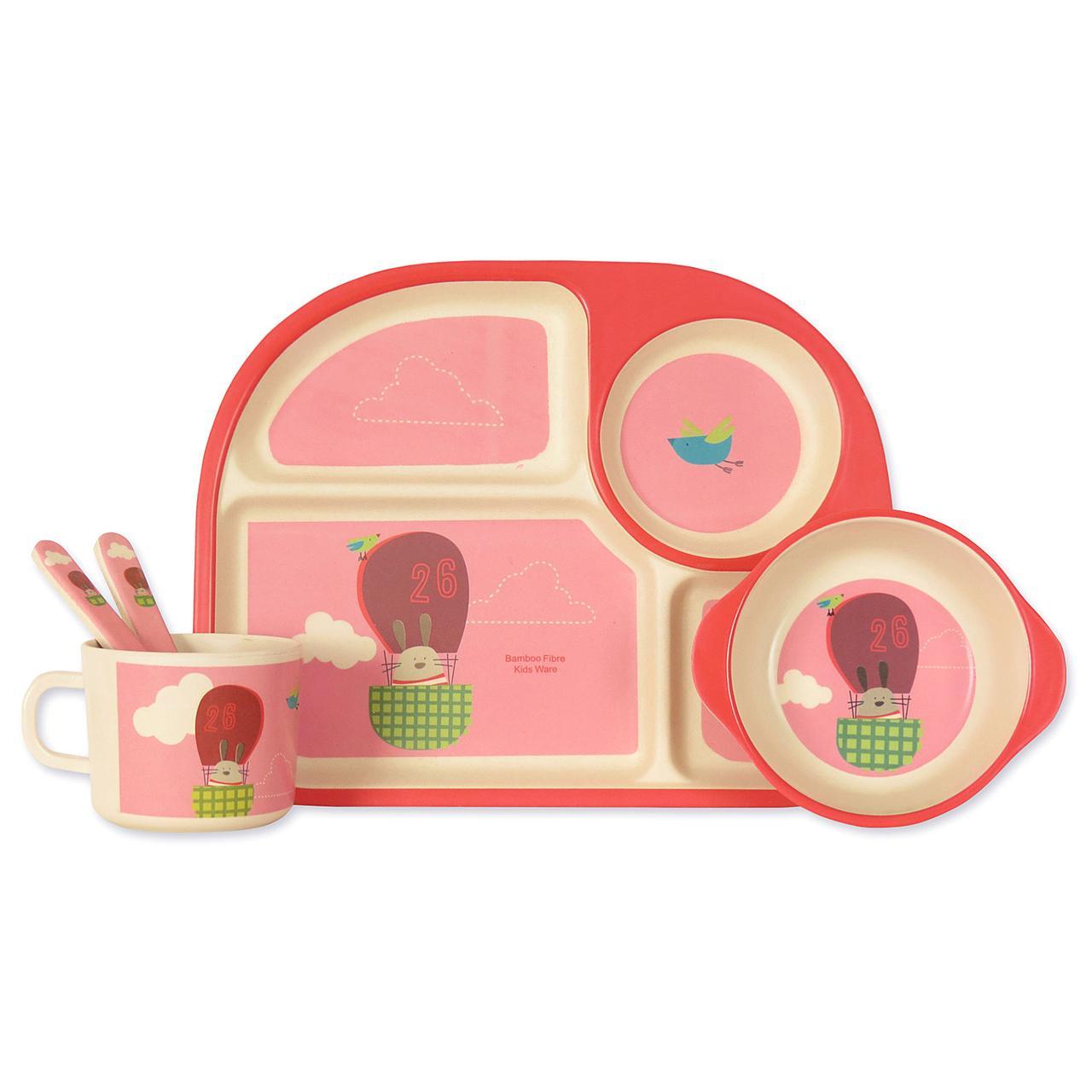 """Детский набор эко-посуды из бамбукового волокна """"Воздушный шар"""""""