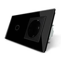 Сенсорный выключатель с розеткой Livolo черный стекло (VL-C701/C7C1EU-12), фото 1