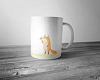 Чашка полноцветным изображением акварельной лисы с конфетой