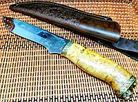Подарочный охотничий нож Кабан - 3 (Ручная робота), рукоять кап клена + кожаные ножны