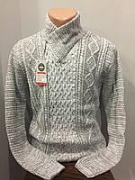 Мужской свитер с шалевым воротником и молнией L,XL
