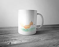 Чашка полноцветным изображением акварельной лисы на лугу