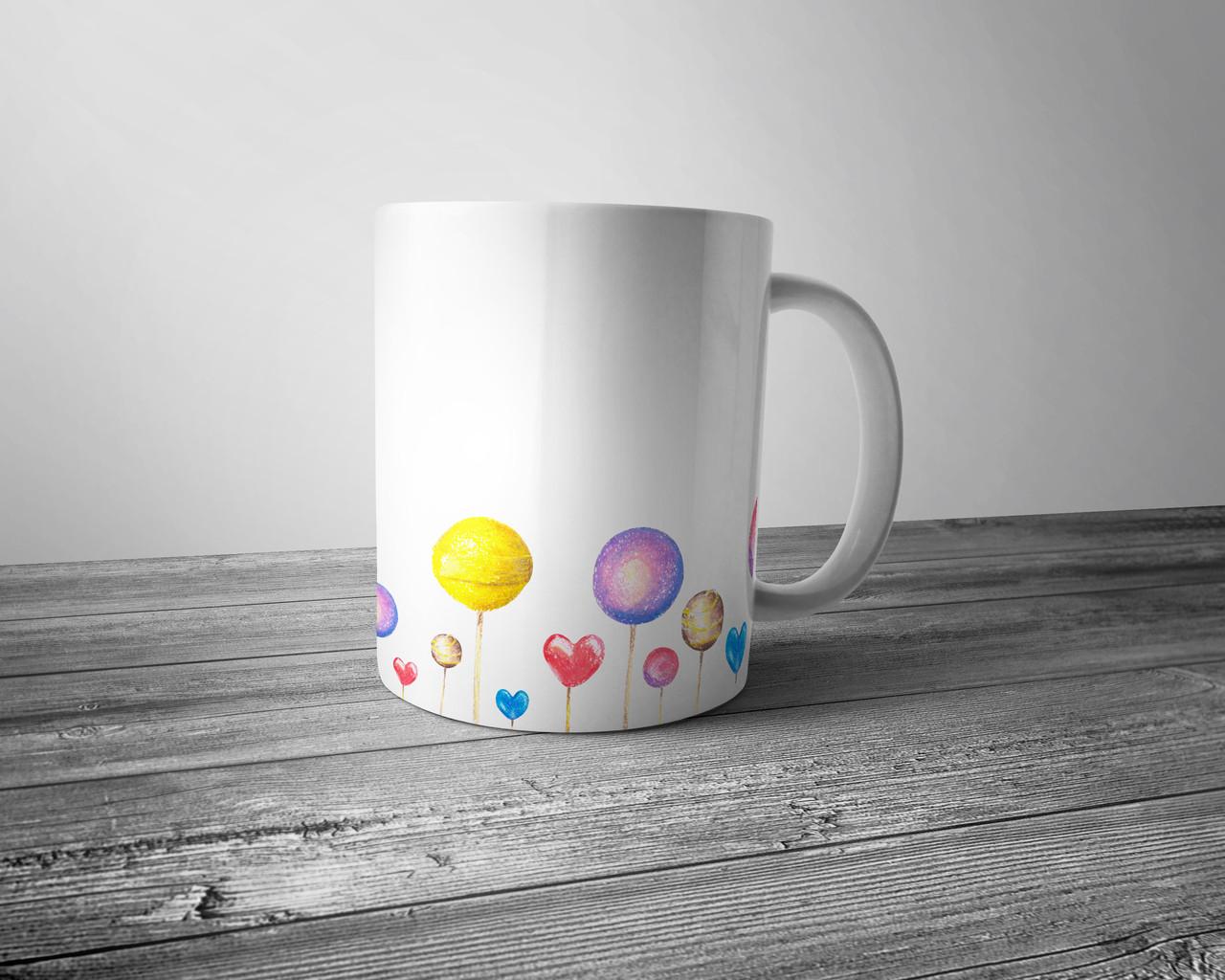 Чашка повнокольоровим зображенням льодяників