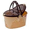 Пластиковая овальная корзина для пикника Senyayla 2330-1 бежево-коричневый