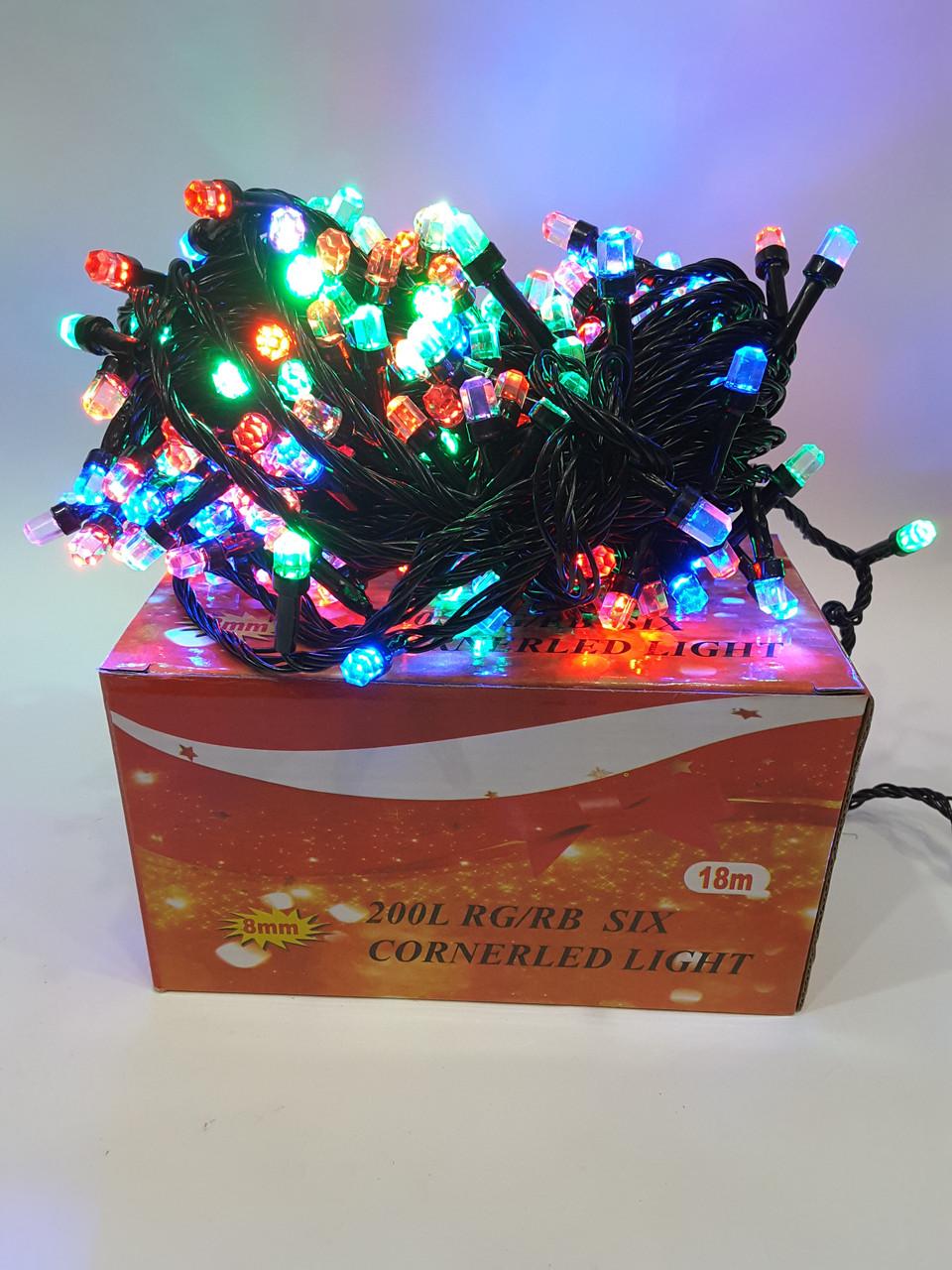 Новогодняя гирлянда 200 ламп Цветная