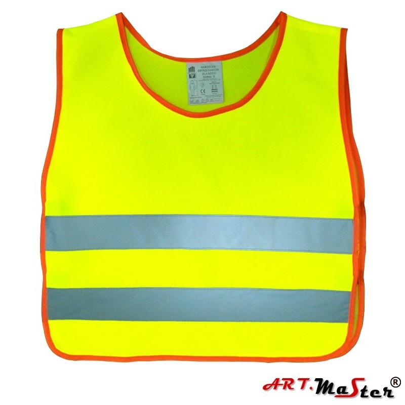 Светоотражающий жилет для детей ARTMAS желтого цвета VEST K kam. dziecięca