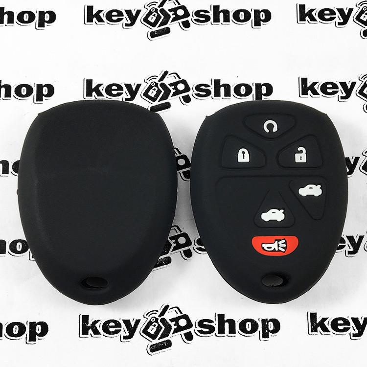 Чехол (черный, силиконовый) для пульта Chevrolet, Buick (Шевролет, Бьюик) 5 + 1 кнопки