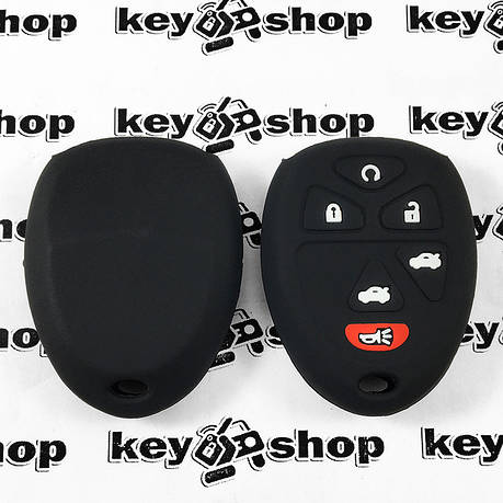 Чехол (черный, силиконовый) для пульта Chevrolet, Buick (Шевролет, Бьюик) 5 + 1 кнопки, фото 2