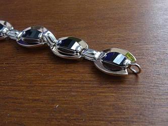 Серебряный браслет с золотыми пластинами и черными фианитами