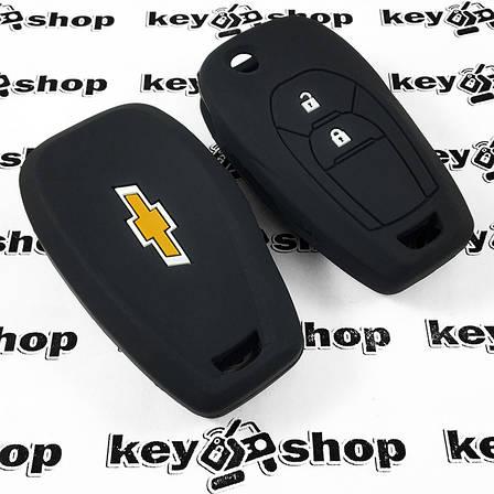 Чохол (чорний, силіконовий) для выкидного ключа Chevrolet (Шевроле) 2 кнопки, фото 2