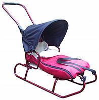 Дитячі санки коляска з регульованою ручкою, конвертом і дашком для дітей, фото 1