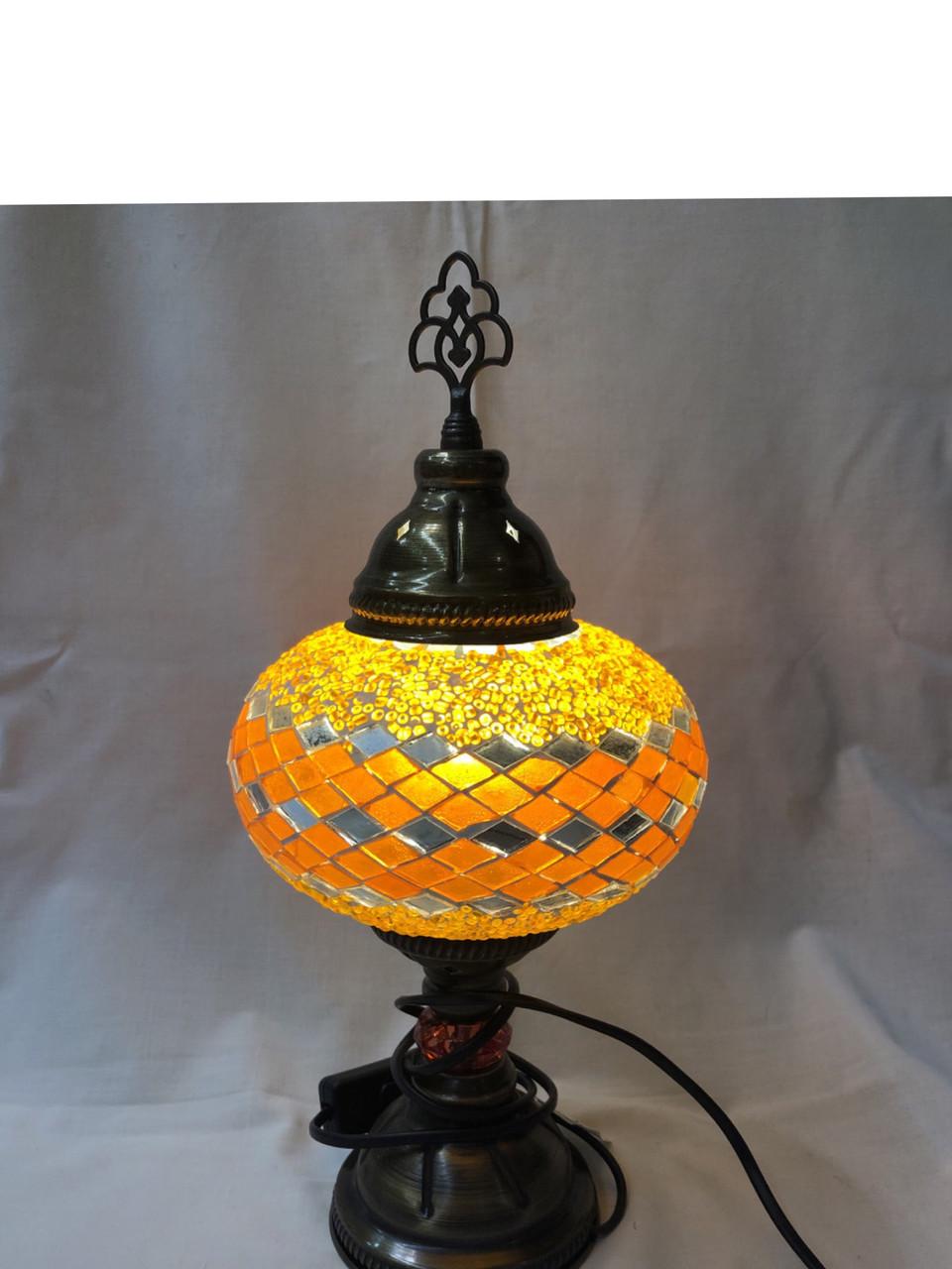 Настольный турецкий светильник Sinan из мозаики ручной работы оранжевый
