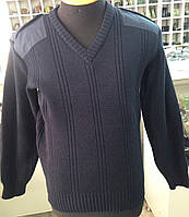 Свитер орменнный под рубашку синий