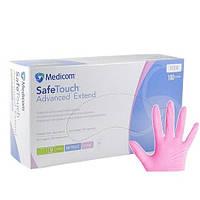 Нитриловые перчатки розовые 4г/м² неопудренные M (100шт/уп) Medicom SafeTouch® Extend Pink