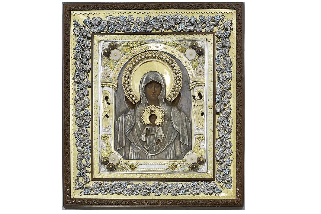 """Серебряная Икона Божией Матери """"Знамение"""" из серебра"""