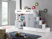 Детская кровать чердак (защита, стол, шкаф, лестница-комод) трансформер.