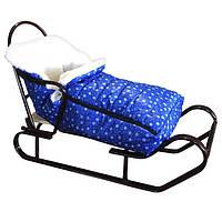 """Конверт чехол детский """"Зимний"""" для санок и колясок. Цвет синий"""