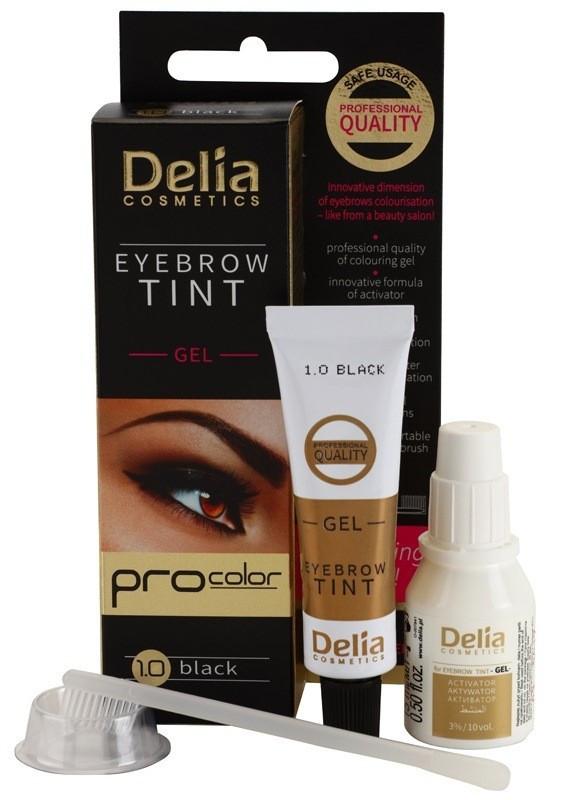 Гель-краска для бровей Delia - PRO COLOR – 1.0 - черная