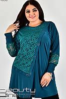 Красивая туника с гипюром для полных женщин Евгения зеленая (60-74)