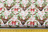 """Отрез новогодней ткани """"Олени с зелёными ветками на рогах"""" на белом, № 1593а, размер 53*160, фото 3"""