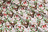 """Отрез новогодней ткани """"Олени с зелёными ветками на рогах"""" на белом, № 1593а, размер 53*160, фото 6"""