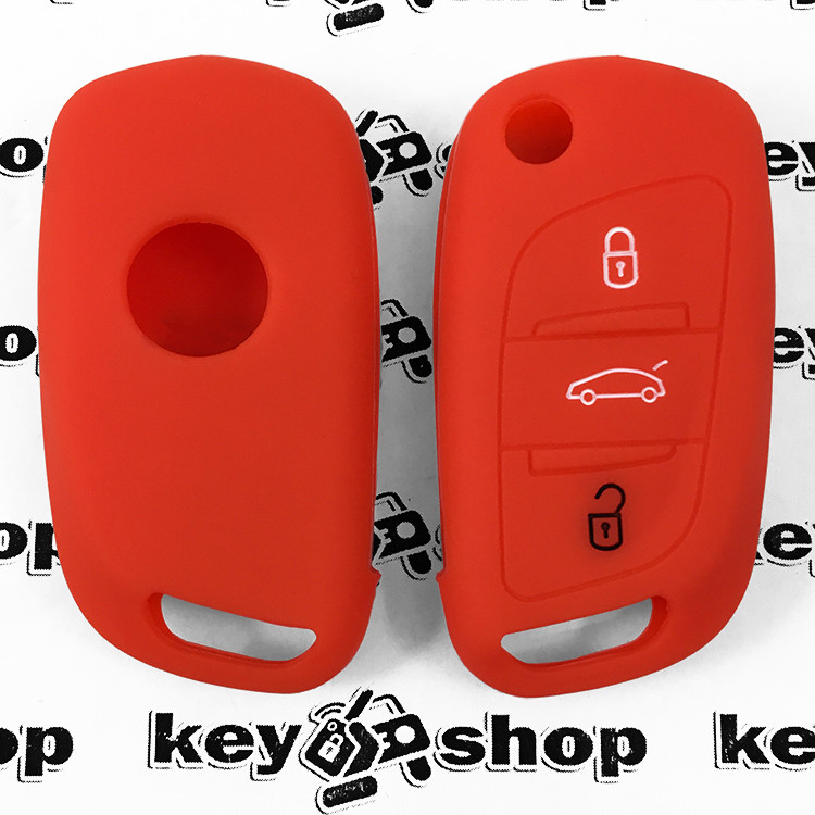 Чохол (червоний, силіконовий) для выкидного ключа Citroen (Сітроен) 3 кнопки