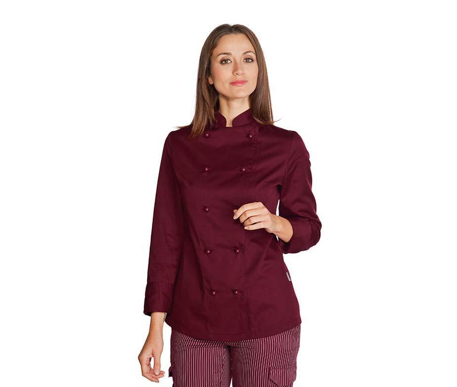 Китель поварской бордовый женский с длинным рукавом Atteks - 00950
