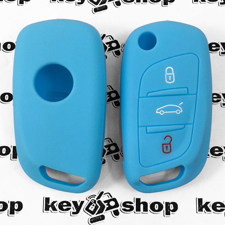 Чехол (голубой, силиконовый) для выкидного ключа Citroen (Ситроен) 3 кнопки
