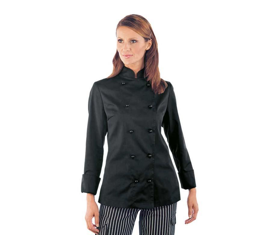 Китель поварской черный женский с длинным рукавом Atteks - 00951