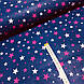 Ткань польская хлопковая, звездопад малиново-розовый на синем, фото 2