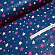 Ткань польская хлопковая, звездопад малиново-розовый на синем, фото 3