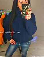 "Вязаный свитер ""Ажур"" с горлом, темно-синий, фото 1"