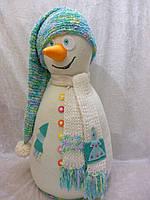 """Авторская интерьерная игрушка(кукла) """"Снеговик Снежик"""", 61 см."""