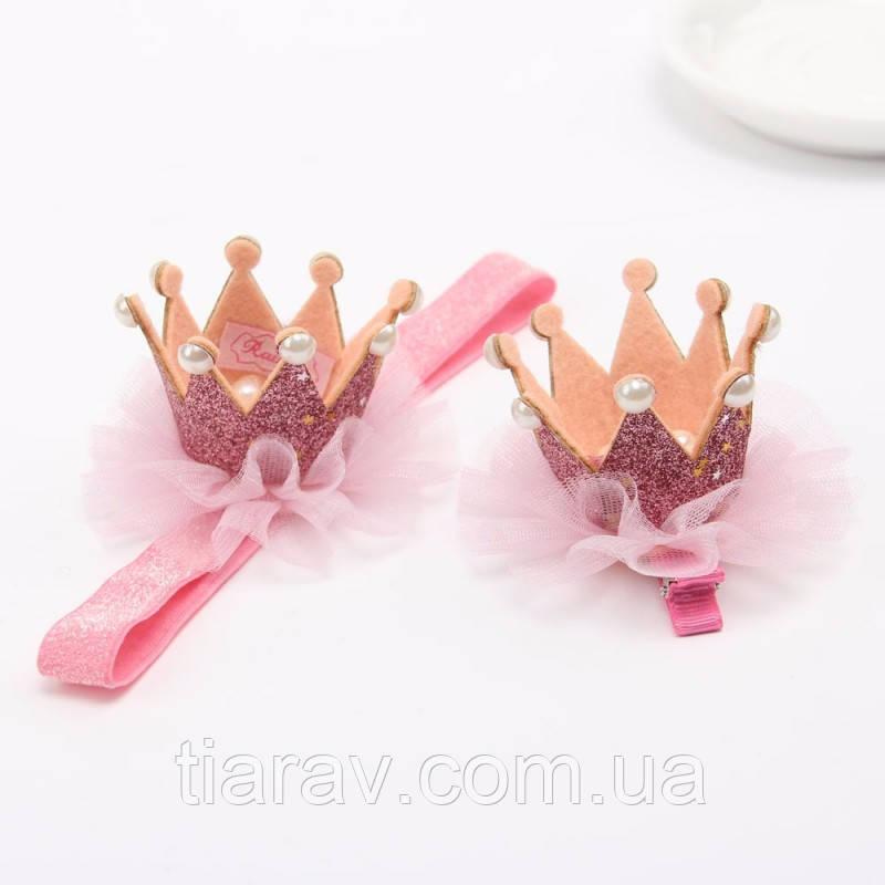 Корона на повязке для волос детская корона розовая