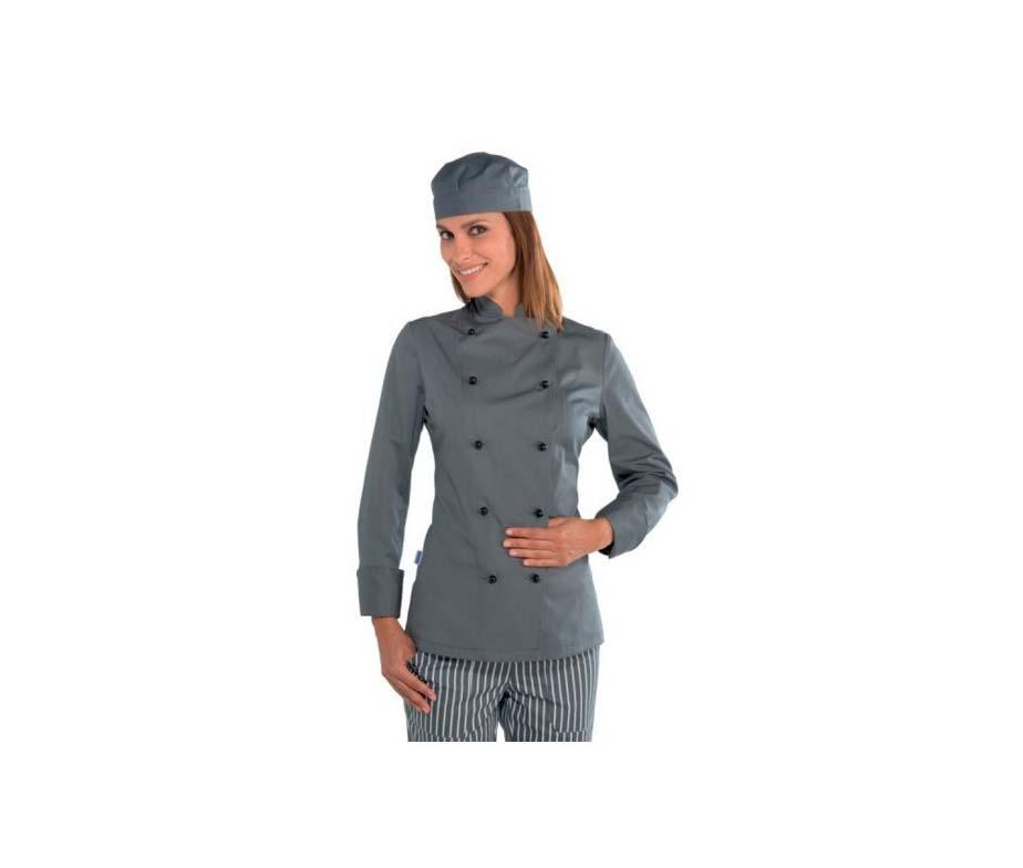 Китель поварской серый женский с длинным рукавом Atteks - 00953