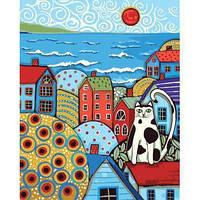 """Картина по номера Городской пейзаж """"Кот на крыше"""" KHO2154"""