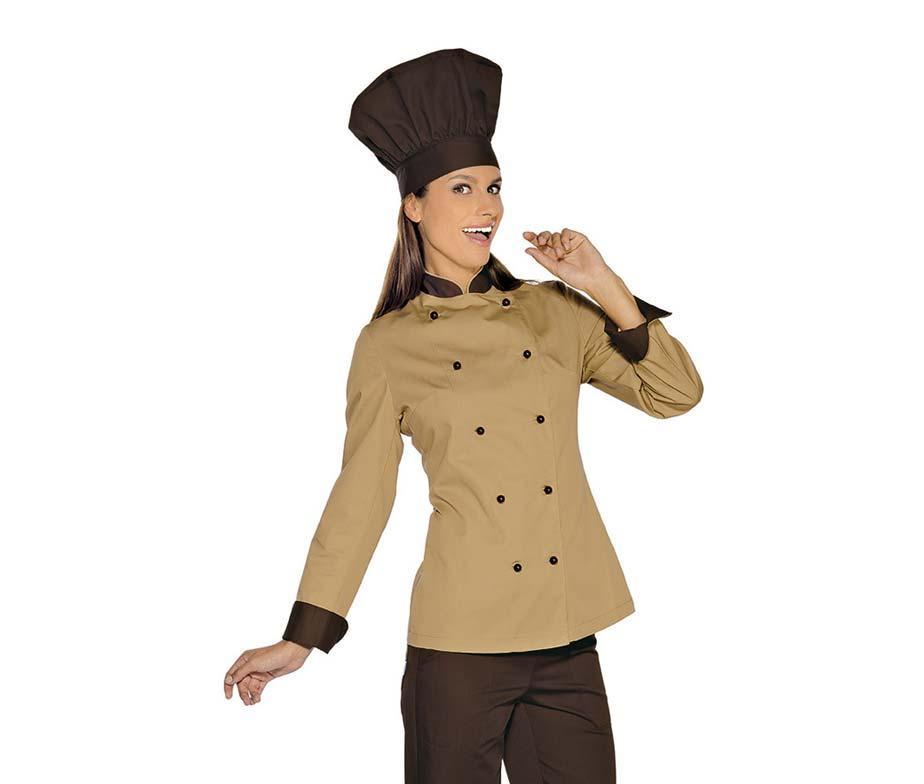 Китель поварской женский бежевый с коричневой отделкой с длинным рукавом Atteks - 00954