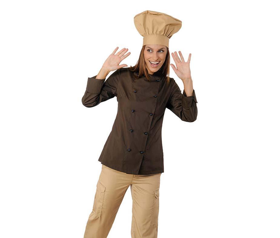 Китель поварской коричневый женский с длинным рукавом Atteks - 00955