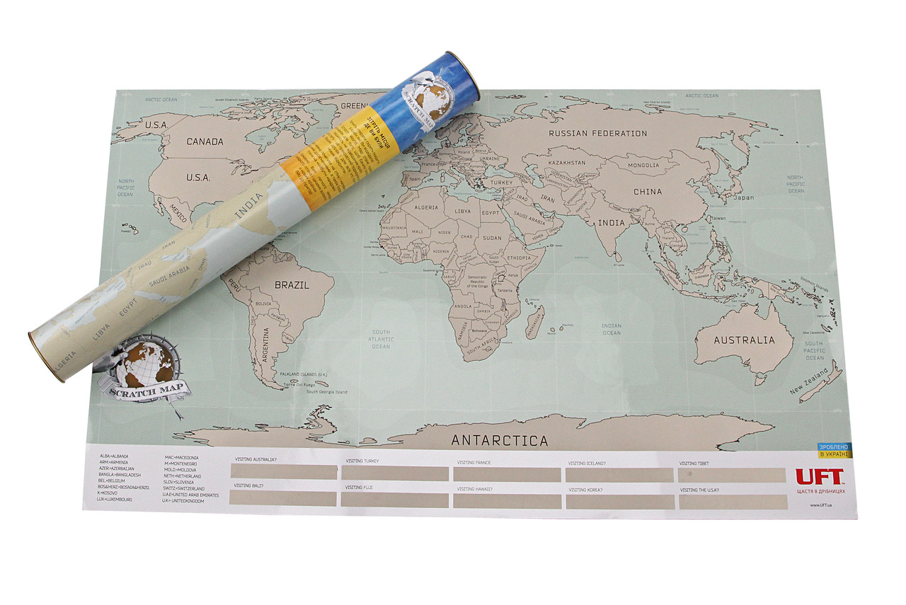 """Подарочная скретч-карта мира """"Scratch World Map"""""""