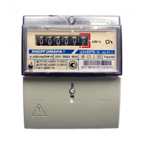 Счетчик электроэнергии ЦЭ6807Б-U М6P5.1 220В 5(60)А Однофазный, однотарифный