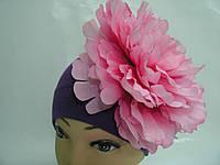 Шапочка фиолетовая с розовым пионом 20 см