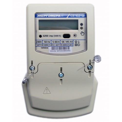 Счетчик электроэнергии CE102-U S6 145-AV 220В 5(60)А Однофазный, многотарифный
