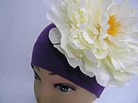 Шапочка фиолетовая с белым пионом 18 см