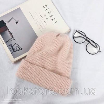 Женская теплая вязаная шапка из натуральной ангоры розовая