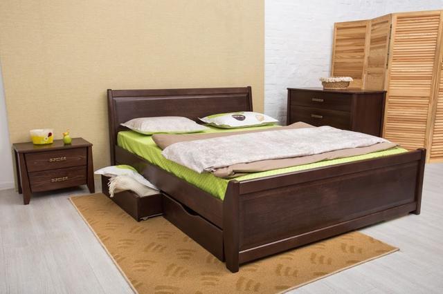 Кровать двуспальная Сити с ящиками филенка изголовье (орех темный)