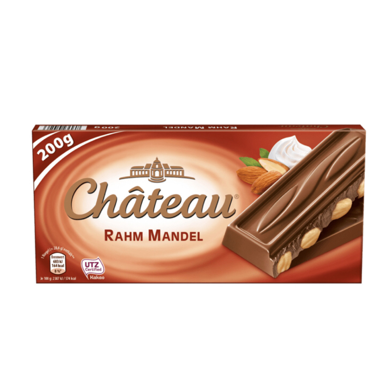Шоколад Château Rahm Manndel молочный с цельным миндалем 200г